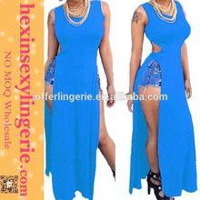 Drop shopping fashion high slit blue Elegant maxi dress indonesia