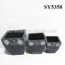 Pot for flower rose carving square flower pot