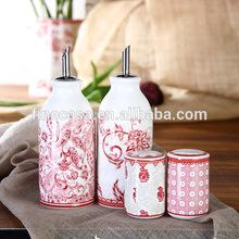 Elegant Fine New Bone China Oil and Vinegar 2 in 1 Bottles and Ceramic Salt Pepper Holder of Oriental Manor