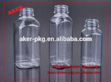 French fresh square glass plastic beverage bottle