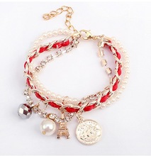 Han Edition Fashion Multilayer Woven Pyramid Of Pearl Bracelet