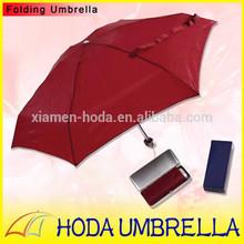 21 inch 6 Ribs Solid Pongee Rain Umbrella 5 Folds in Square Plastic Case