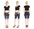 Style Embroidered And Blue Short Jean Manufacturer, Cheap Jean Shorts With Belt