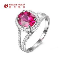 Fashion Ruby Jewlry Diamond Engagement Ring Pave Setting
