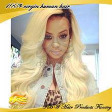 Fashion Style Super Wave Virgin Brazilian Blonde Human Hair Full Lace Wig