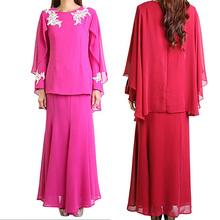 latest design rose red chiffon ladies muslim long dress