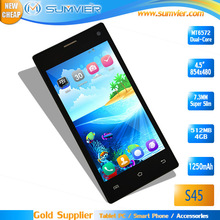 "Android Mobile 4.5"" FWVGA MT6572 Dual Core 480*854 Dual Sim Android 4.2 Smart Phone"