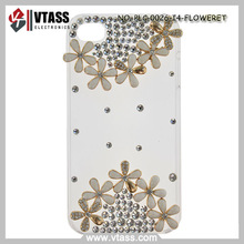 3D flower design with rhinestone transparent case for iphone 4 /4s