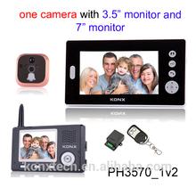 7 inch 2.4GHz wireless door peephole viewer,door camera, digital wireless electronic cat's eye with doorbell