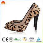 Fashionable splicing colour leopard high-heeled shoes brown