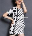 mais recente moda projetos elegante em preto e branco polka dot vestido de mulher