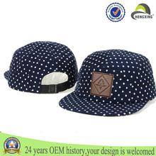 Wholesale Custom 5 panel cap polka dot navy blue corduroy fabrics snapback hat cap