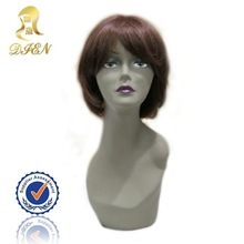 Fashion Brazilian Remy Hair Lace Front Wigs Spiky Hairs Wig Eyebrow Wigs Short Length Brown Color Asian Natural Style