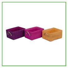 Colorida tejida cestos de paja de cuero con mango