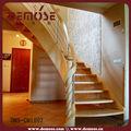 Cortés a mano de madera barandillas para escaleras/interiores escaleras de madera