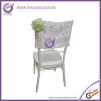 18295 wholesale white net ribbon tie back embroidered half chair back covers