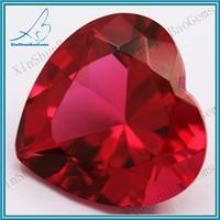 red heart glass gems/synthetic glass diamonds/machine cut stone