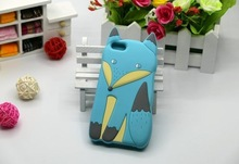 Lovely 3D Silicone Cartoon animal Fox soft cover Case for iPhone 5 5S 4 4S iphone5