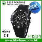 FT1304_BK 12 Stone Dial Silicone strap female Wrist quartz China japan movt quartz watch stainless steel case back