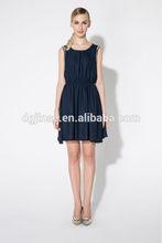 2015 New Woman Girl Cute Sexy Summer Fashion Chiffon sleeveless Elasticized Waist Dress Leisure Hot Sale