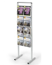 4-Pocket Literature Stand for Floor with Removable Pocket Dividers - Silver