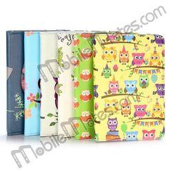 Hot Sale 2014 Cute Owls Style Rotate Leather Flip Case for iPad Mini iPad Mini 2 Retina with Elastic Belt