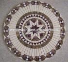 Star design pattern round mosaic medallion table top