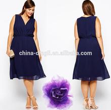New Look women plus size V-neckline Wrap front Cinched waist sleeveless Midi Dress