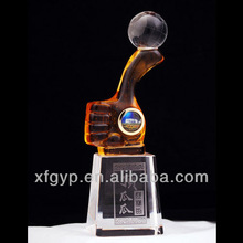 NO.1 liuli/colored glaze trophy cup with crystal base