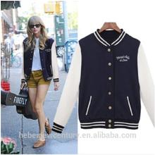 Women Cotton Baseball Uniform Coat Jacket Loose Hoodie Fleeces Long Sleeve New Fashion European Style 2014