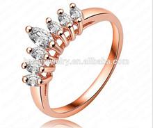 Hot Sale Simple Design 18K Rose Gold/Platinum Plating Genuine Zircon Crown Shape Best Friends Forever Rings
