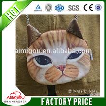 High quality manufacturer wholesale cheap cat face soft fabric woman handbag