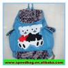 Blue korean style backpack travel bag two bear printed drawstring backpack bag