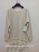 fashion elegant leisure lady clothing sweater with bottom lace