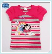 2-6Y (K4691) Summer nova wholesale kids clothing fashionable ready stock printed baby girls t-shirts