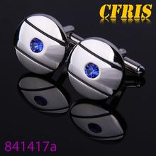 Wholesale steel plated polished blue crystal inlaid cufflinks