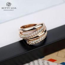 UV Soak Off lovers fashion multilayer ring with rhinestone