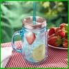 480ML clear juice beverage embossed juice beverage jam bulk glass mason jar with handle wholesale