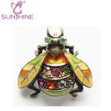 di cristallo colorato smalto ali mosca ape bug scarabeo verde arancione spilla pin