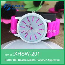 New products 2014 women's silicone rubber jelly gel quartz analog sports wrist watch purple