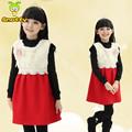 snotty moda vestuário infantil sem mangas de meninas vestidos de inverno com pele branca design