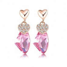 Trendy Big Wishing Stone Pendant Earrings 18K Rose Gold Plated Cheap Crystal Earrings