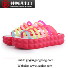 Nice quality PVC jelly shoes for women flat jelly shoes wedge heel sandals rainbow jelly shoes 2014