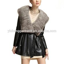 Women's Slim Braided Mink Fur Sheepskin Leather Coat