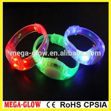 Push button braclet, 3 LEDs flashing pvc bracelet