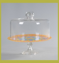 Fancy wedding cake stand, food glass dome cover with plate