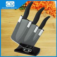 high quality 3pcs ABS+TPR handleceramic kitchen knife,with holder, kitchen ceramic knife set ,
