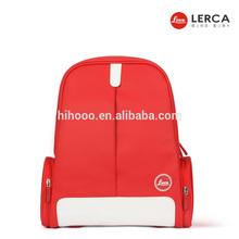 Lerca Cute dslr leather camera bag Red PU Camera Backpack DSLR Waterproof Camera Backpack