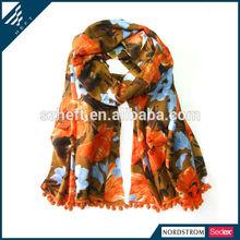 handmade pompoms polyester twill fashion lady scarf