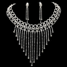 Wholesale Rhinestone Bridal Tassel Necklace Set